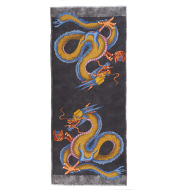 Cashmere Featherweight Scarf Double Dragon - Charcoal & Gold