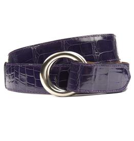 Glazed Alligator Belt with O-ring buckle - Violet