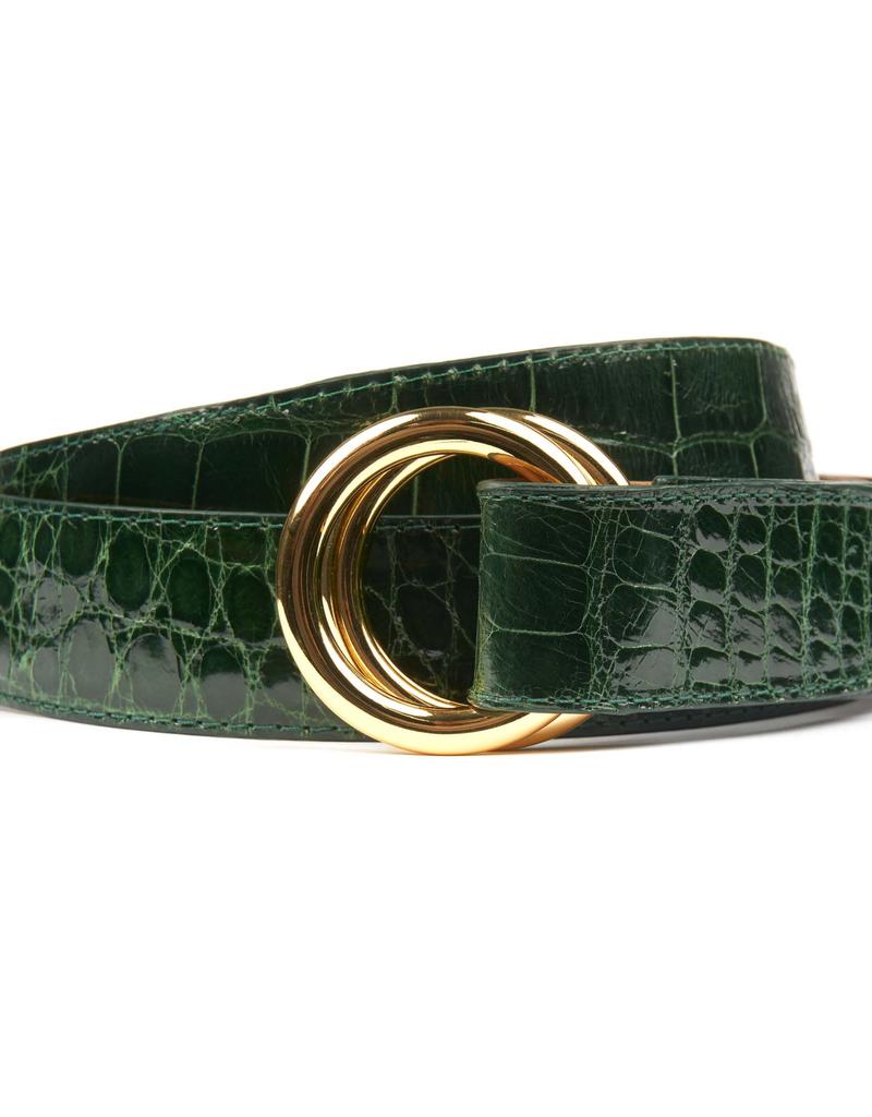 Glazed Alligator Belt with O-ring buckle  - Forest Green