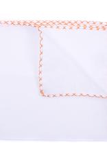 Linen Pocket Square with Hand-made cross stitch border, White w/Orange
