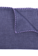 Linen Pocket Square with Hand-made cross stitch border, Denim w/Lavender