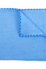 Linen Pocket Square with Hand-made cross stitch border, Lt. Blue w/Royal Blue