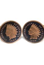 Hand Enameled Coin Cufflinks - USA penny
