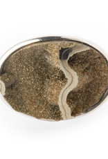 Silver Round Drusy Cuffliks set in Sterling Silver