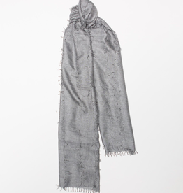 Cashmere and Silk Oversized fringe detail Scarf, Gray