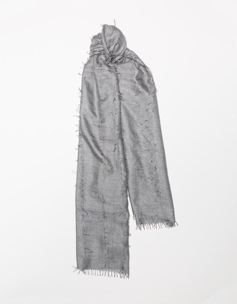 70%WS30%SE Oversized fringe detail Scarf, Gray