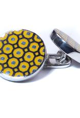 Yellow & Black Enamel Double-sided Silver Cufflinks