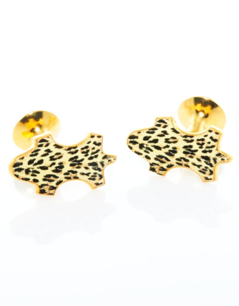 Leopard Enameled Gold Cufflinks