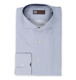 Cotton Printed Optical Shirt, contrast placket/cuff/collar interior