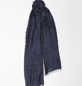 Cashmere and Silk Oversized fringe detail Scarf, Navy