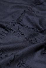70%WS30%SE Oversized fringe detail Scarf, Navy