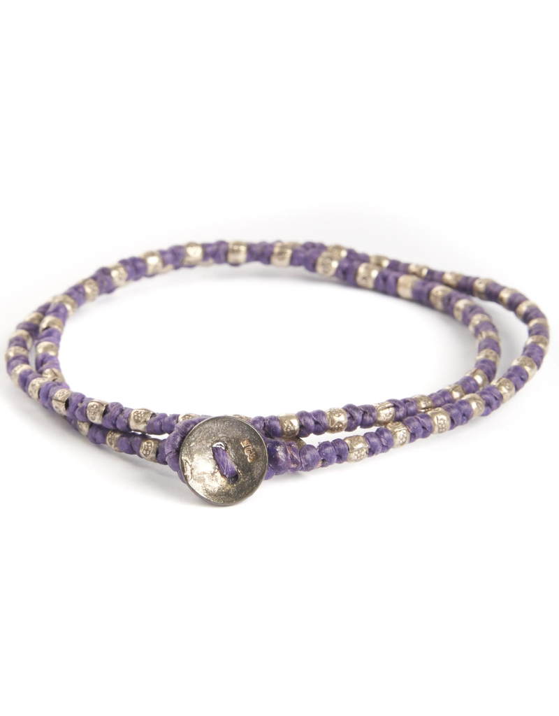 Two Layer Hand Knotted Wax Wrap with Mini Sterling Silver Thai Stamped Beads on Button Closure