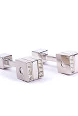 Spinning Cube with Crystals Silver Cufflinks