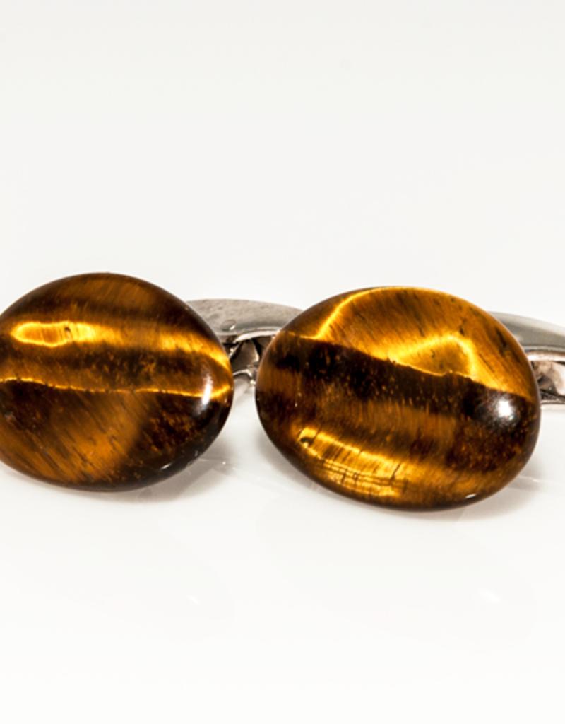 Tiger Eye Pebble in 925 Sterling Silver Cufflinks