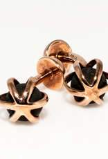 Lava Rock Caged in Rose Gold plated in 925 Sterling Silver Cufflinks