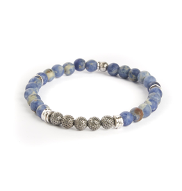 Sodalite & Sterling Silver Bead Bracelet Rhodium Plated Small Beads
