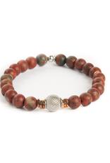 Sterling Silver Ruthenium & Rose Gold Bead Red Rainbow Jasper Bracelet