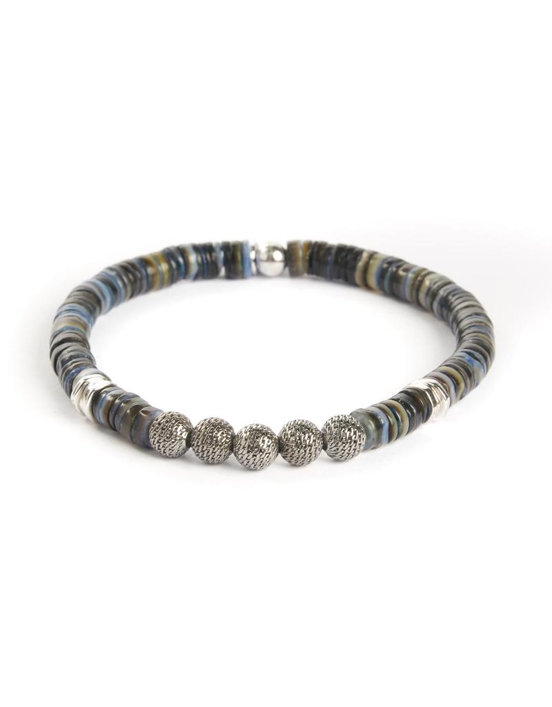 Sterling Silver, Rhodium Plated Metal, Shell Bracelet