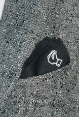 Pure linen pocket square with emboidered motif, Burdi's logo in black