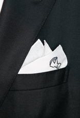 Pure linen pocket square with emboidered motif Burdi's logo in white