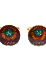 Hand Enameled Coin Cufflinks - USSR-red