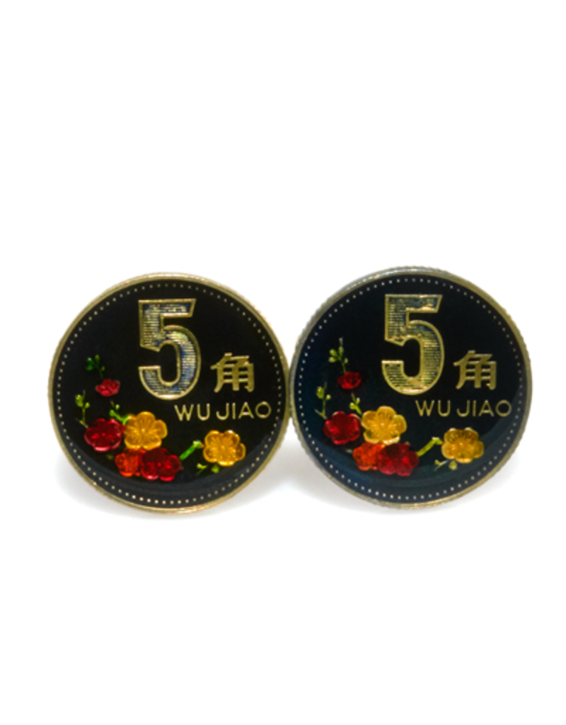 Hand Enameled Coin Cufflinks - China 5 jiao
