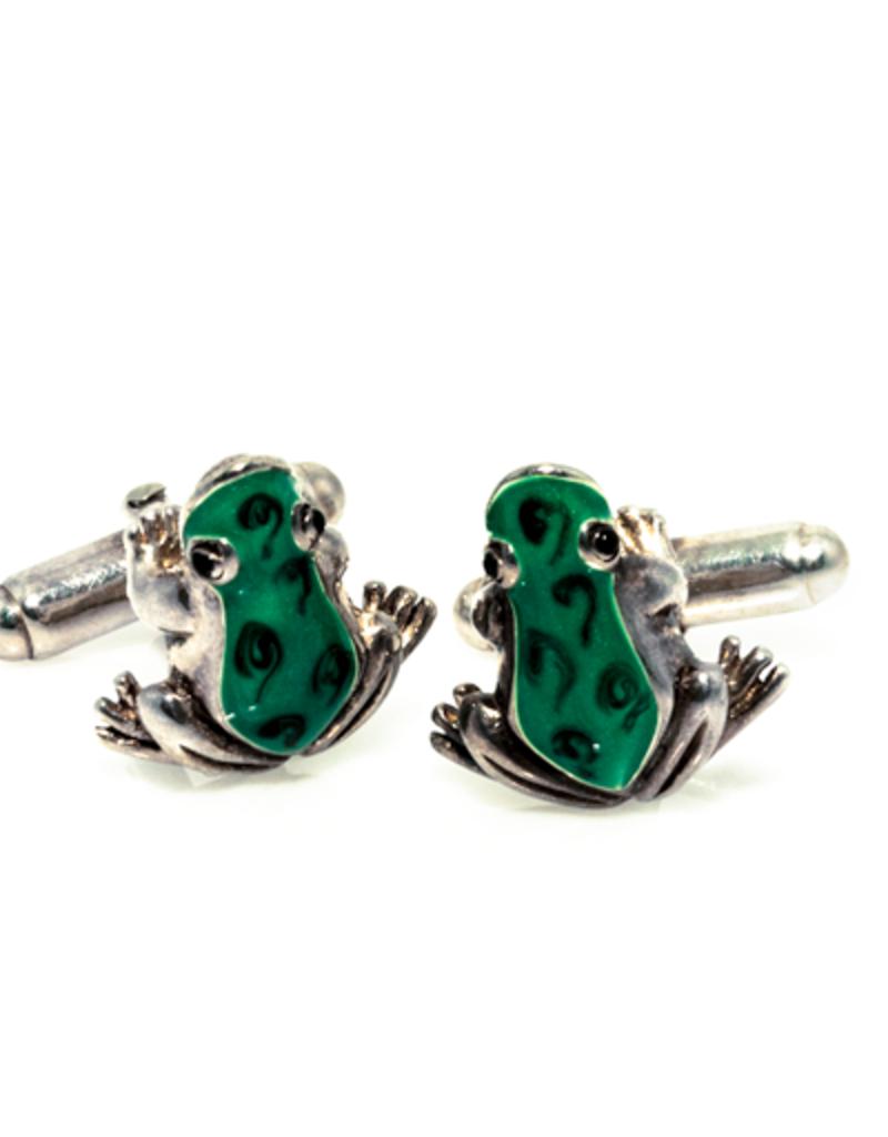 Frogs Green Enamel in 925 Sterling Silver Cufflinks
