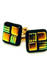 Green & Orange Murano Glass Cufflinks