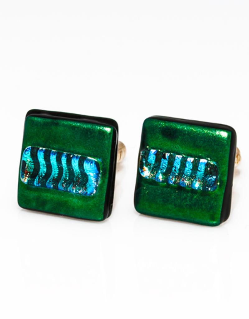 Murano Glass Green & Blue Cufflinks