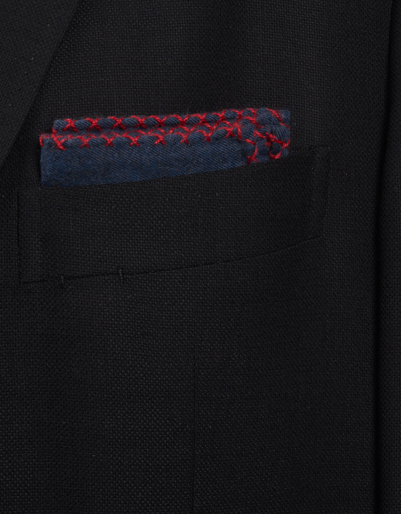 Navy Flannel Pocket Sq with Hand-made cross stitch Red border