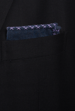Navy Flannel Pocket Sq with Hand-made cross stitch Lavender border