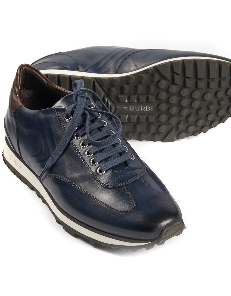Calf Leather Sneakers, Navy