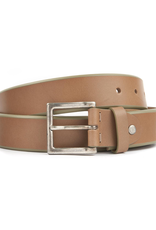 Leather Belt with Square Brass Buckle