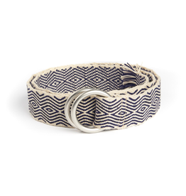 Hand-Made Tapestry Belt with round buckle and fringe, Cream & Navy