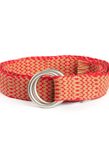 Hand-Made Tapestry Belt with round buckle and fringe, Red & Gold