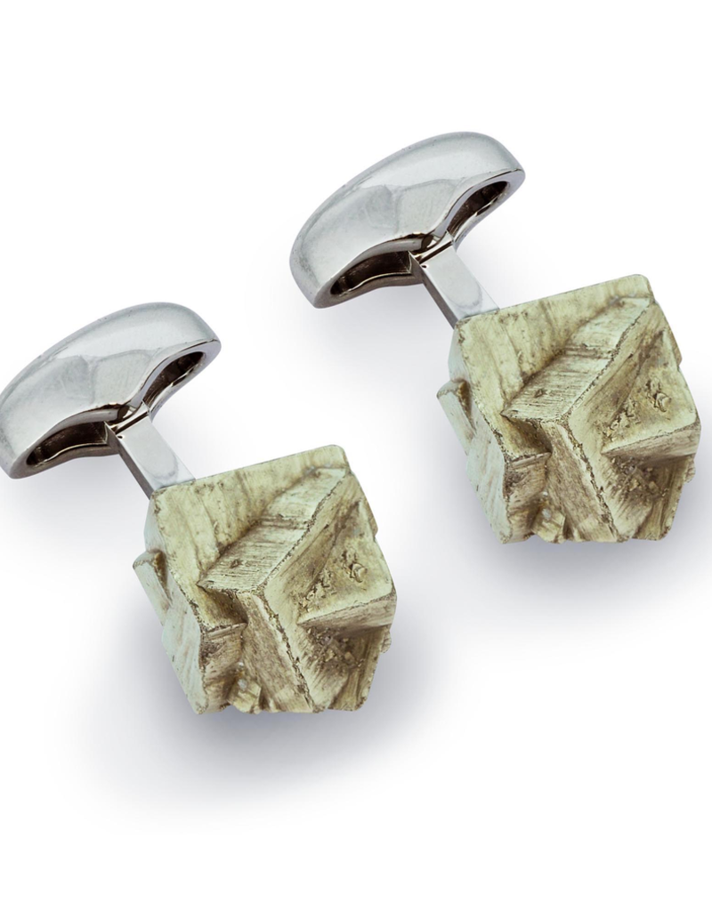 Mined Pyrite Cufflinks, Rhodium - Base Metal, Rhodium Plated, Pyrite