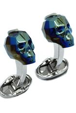 Swarovski Skull Cufflinks, Blue - Base Metal Rhodium Plated, Swarovski