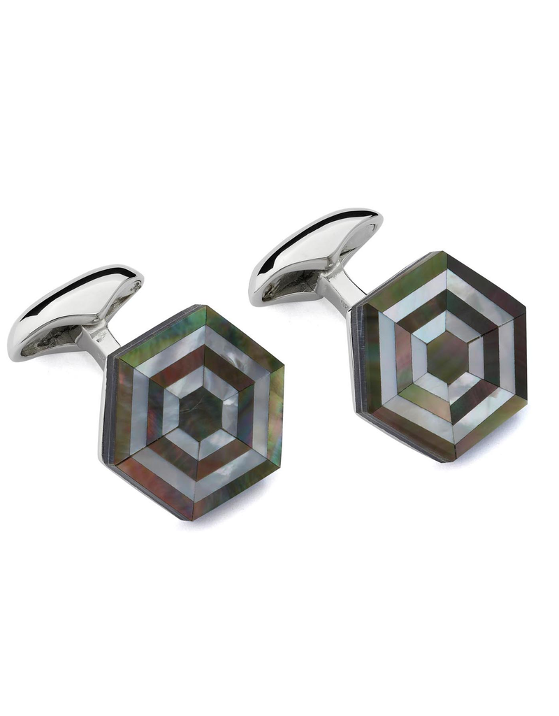 Maze Cufflinks, Black Mother of Pearl - Sterling Silver, Rhodium Plated, Black Mother of Pearl, Mother of Pearl