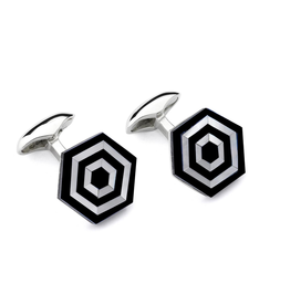 Maze Cufflinks, Onyx - Sterling Silver, Rhodium Plated, Onyx, Mother of Pearl