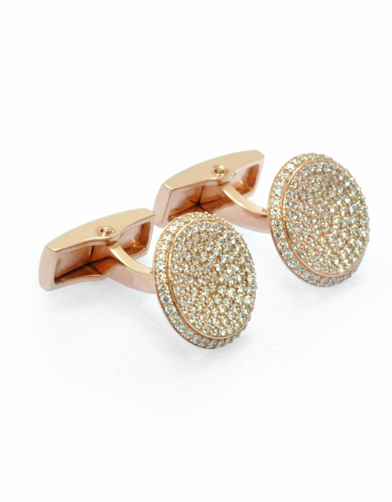 Puddle Cufflinks, Rose Gold - Sterling Silver Rose Gold Plated, CZs