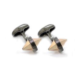 Double Spike Cufflinks, Crystal Rose Gold/Black Rhodium - Base Meta Black Rhodium Plated, Swarovski Crystal -D