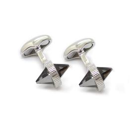 Double Spike Cufflinks, Black Diamond - Base Meta Rhodium Plated, Swarovski Crystal - D