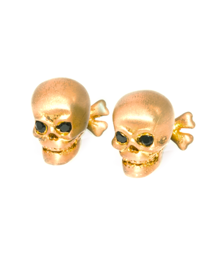 S/S Brushed gold plated Skull cuff links set with black spinel