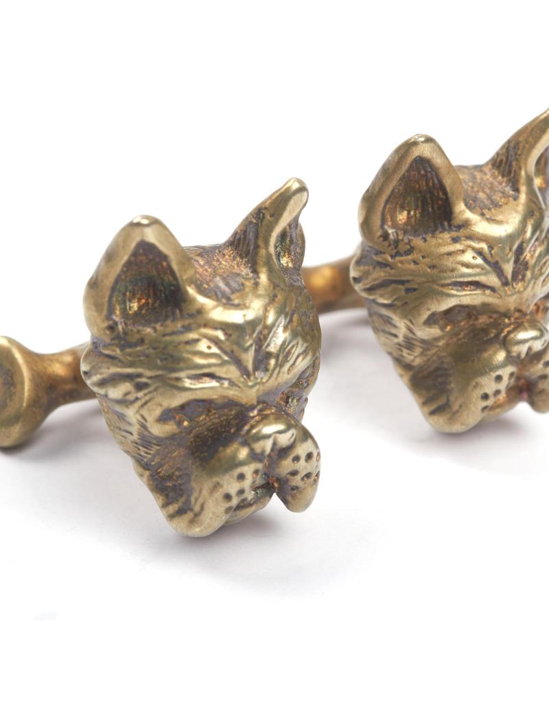 S/S Brushed gold plated French bulldog & bone cufflinks