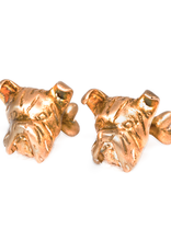 S/S Brushed gold plated boxer dog head cufflinks