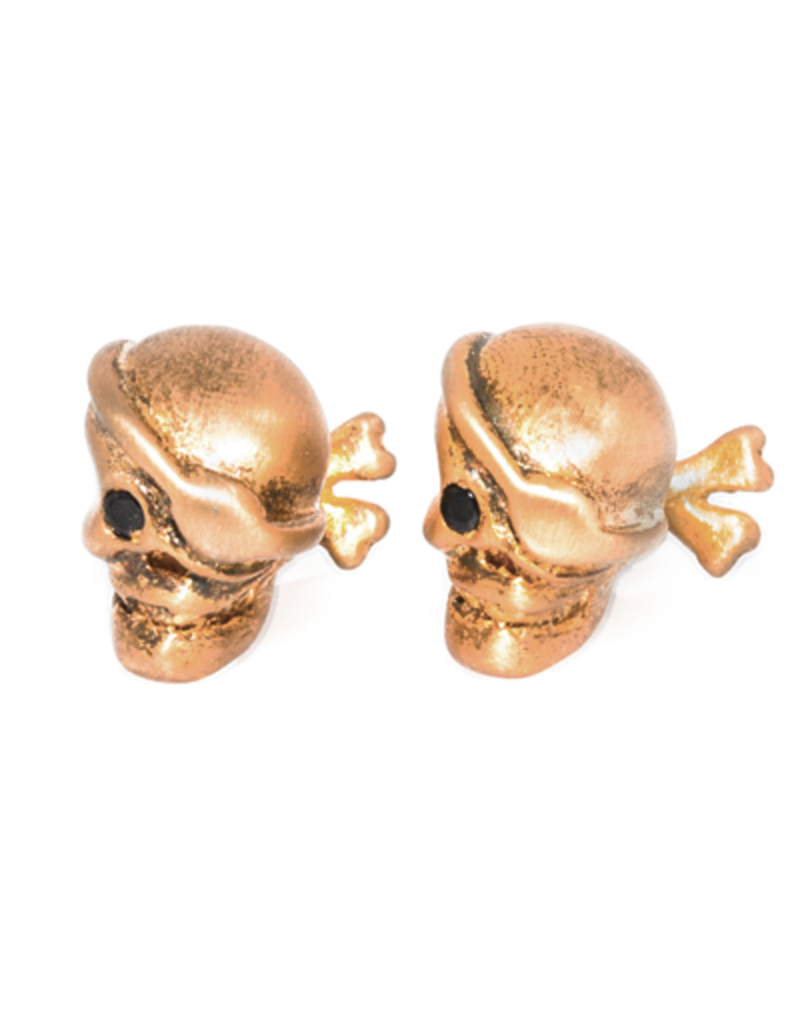 S/S Brushed gold plated pirate skull cufflinks set with black spinel