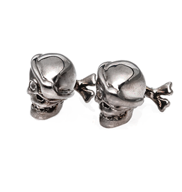 S/S Black rhodium Pirate skull cufflinks set with white sapphire