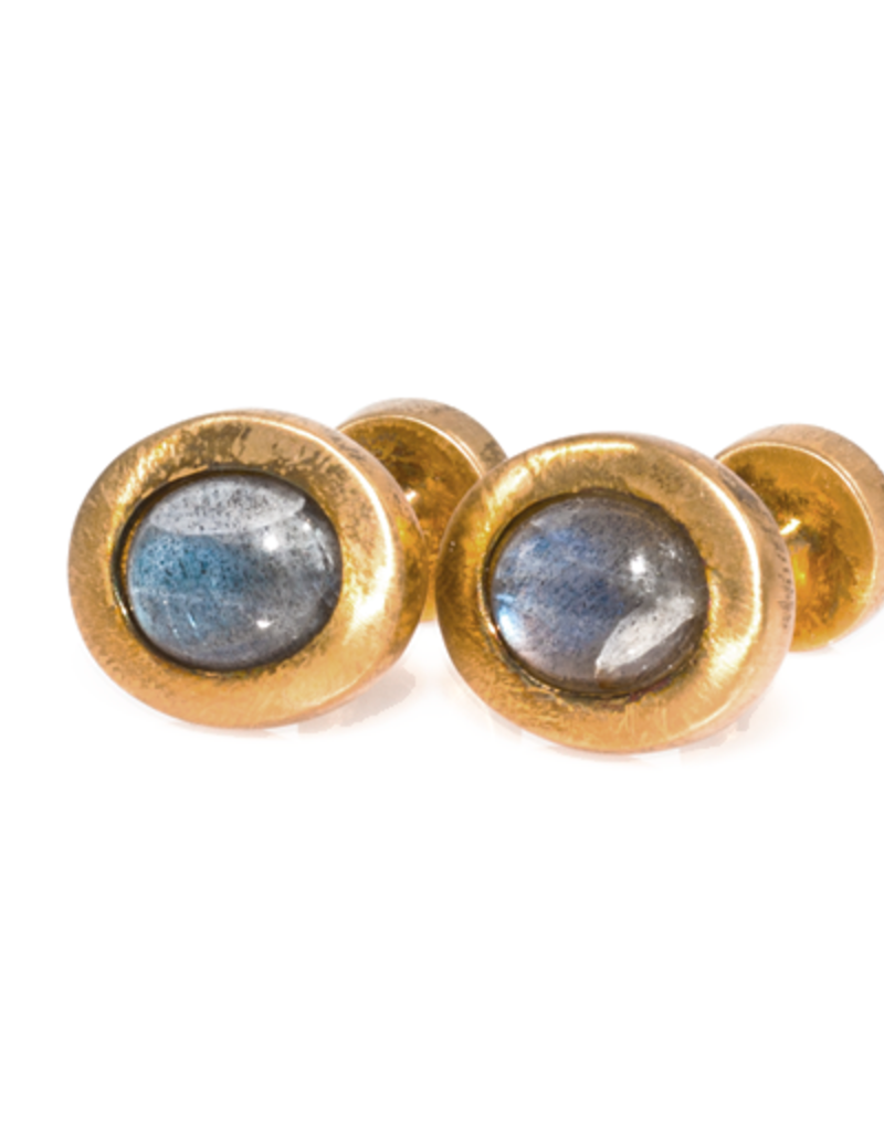 S/S Gold plated Oval cabochon cufflinks set with labradorite