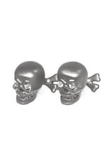 S/S Brushed black rhodium skull cufflinks set with white sapphire