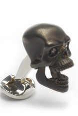 Oxidized Sterling Silver Skull Cufflinks with Functional mouth and Diamond Eyes
